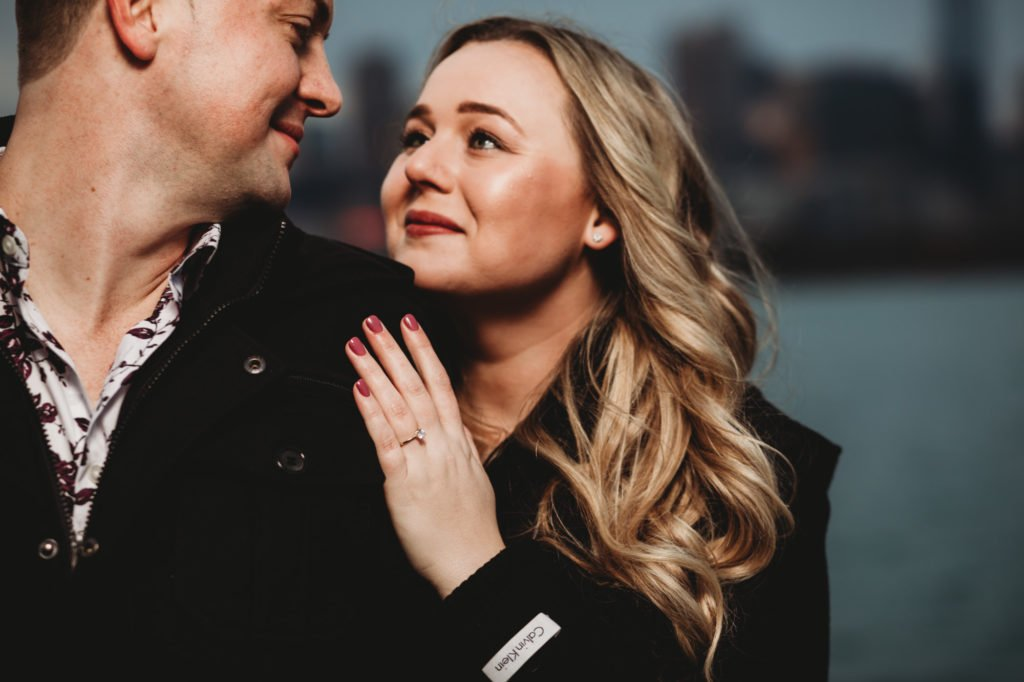 surprised proposal downtown Chicago proposal engagement I love you will you marry me