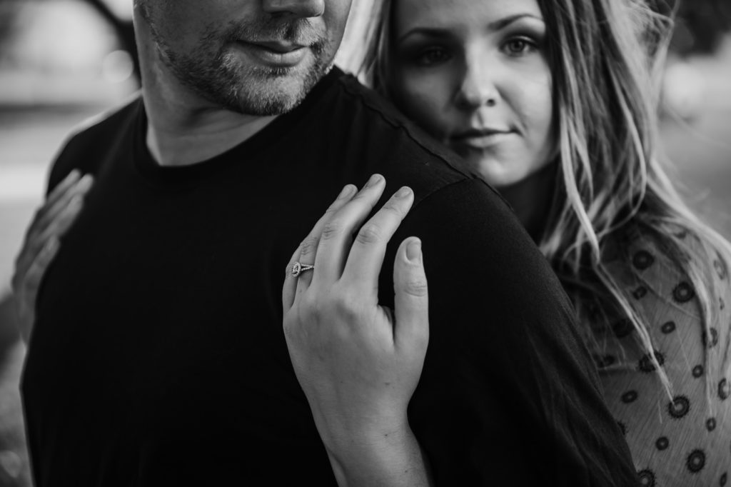beach engagement session downtown engagement session engagement ring black and white photography