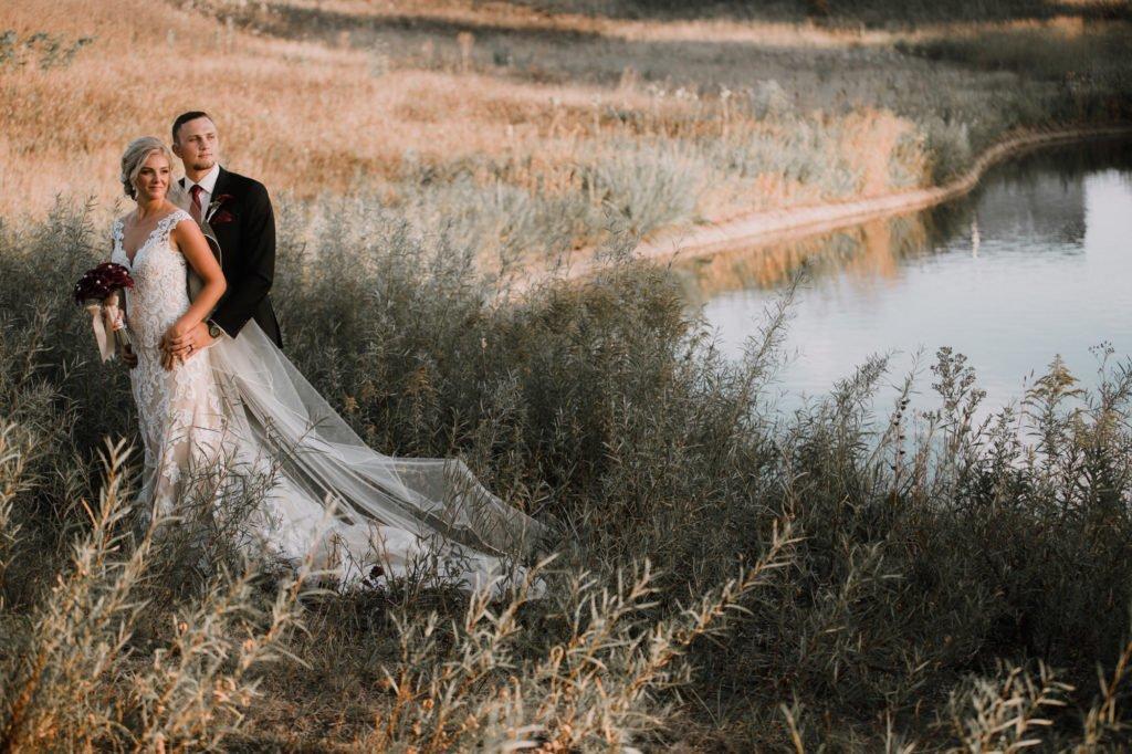 wedding bride golden hour modern