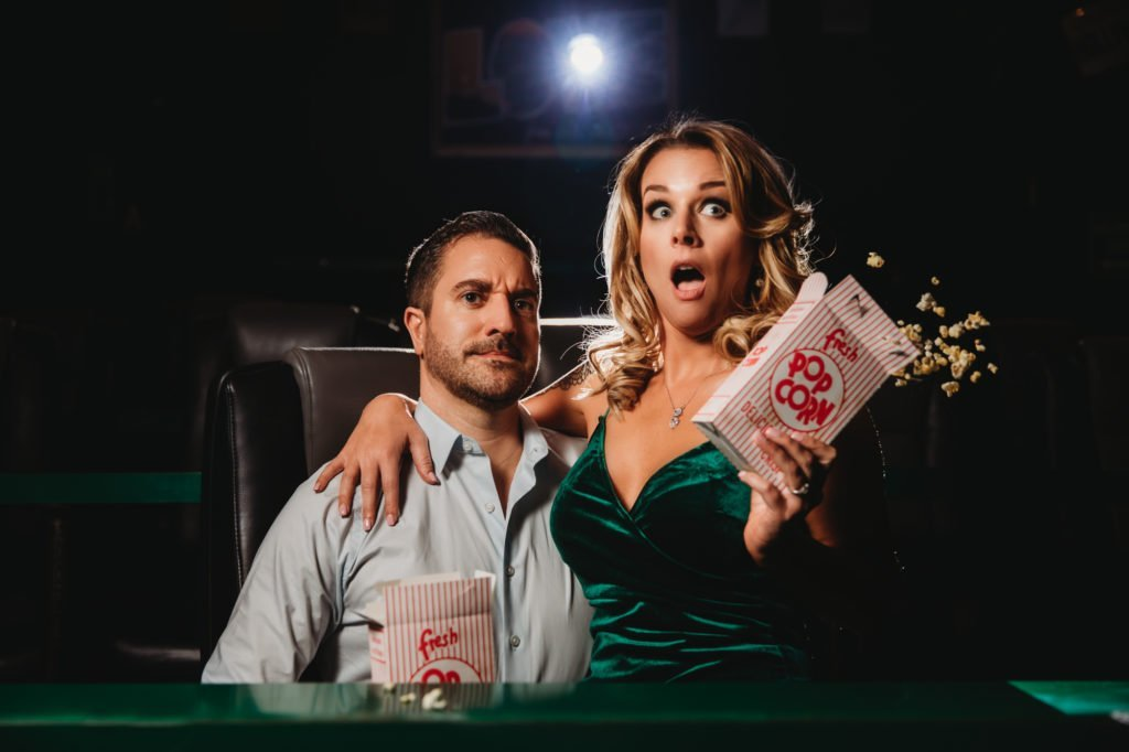 movie theater movies theater popcorn cinema engagement session