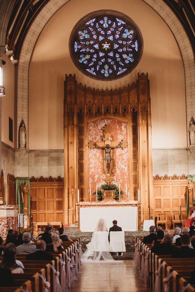 church wedding, church ceremony groom and bride getting married
