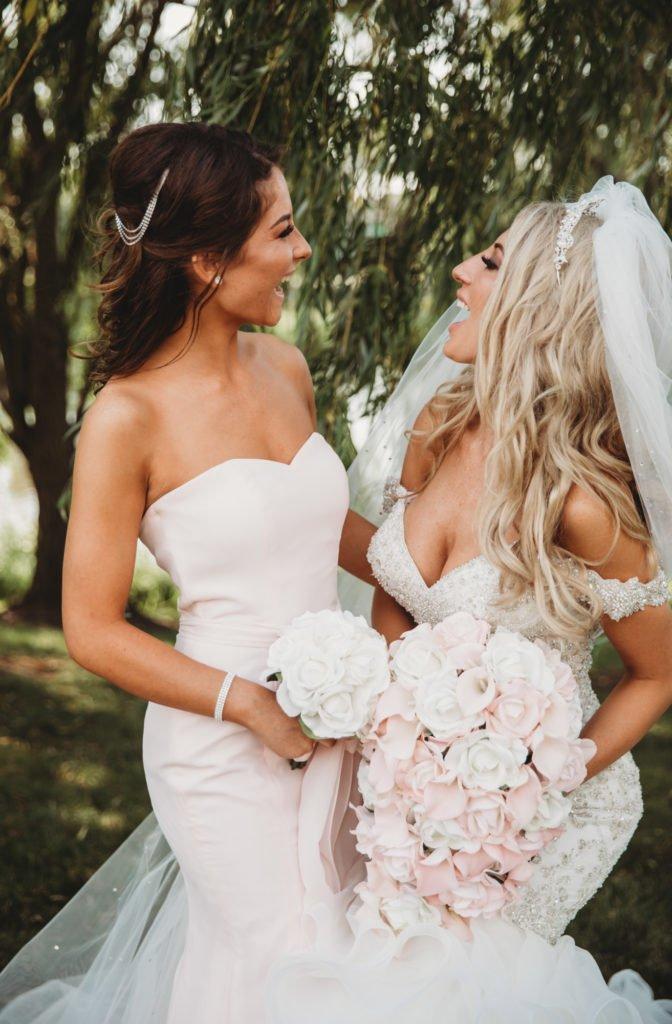 bride bridesmaid wedding bouquet