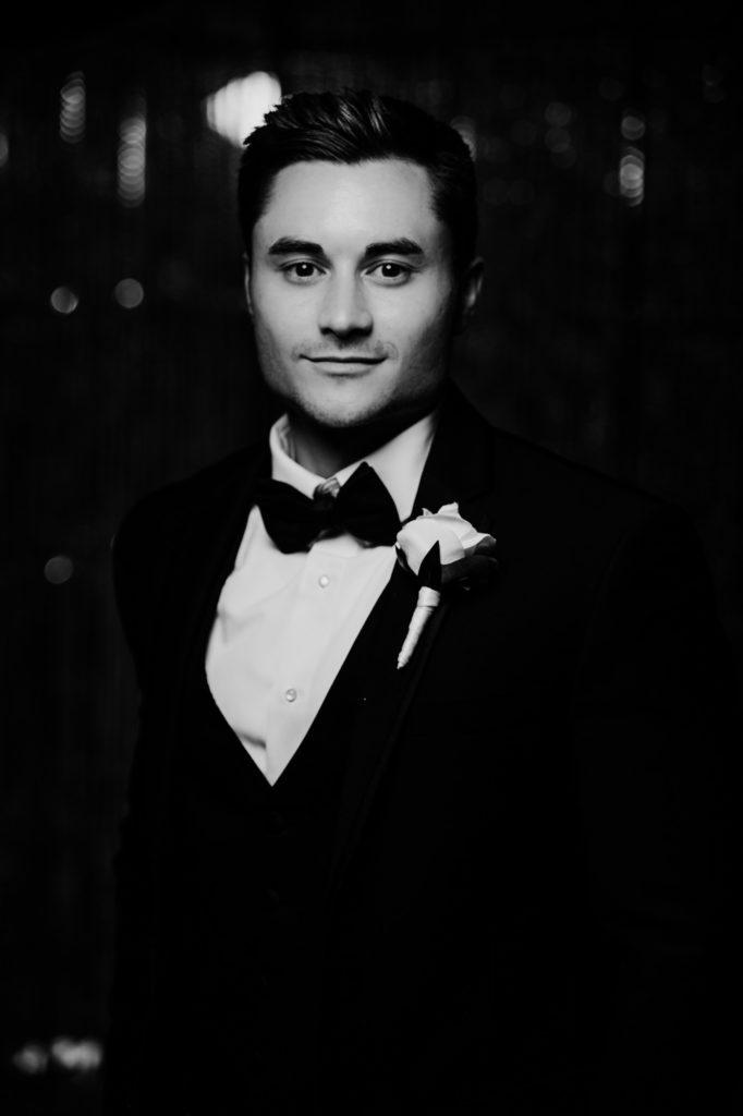 black and white groom